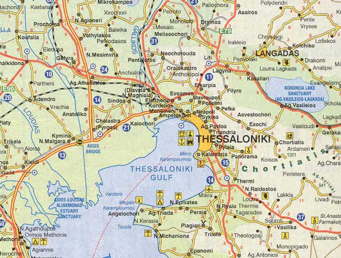 Greece. Map of Thessaloniki   Greek islands